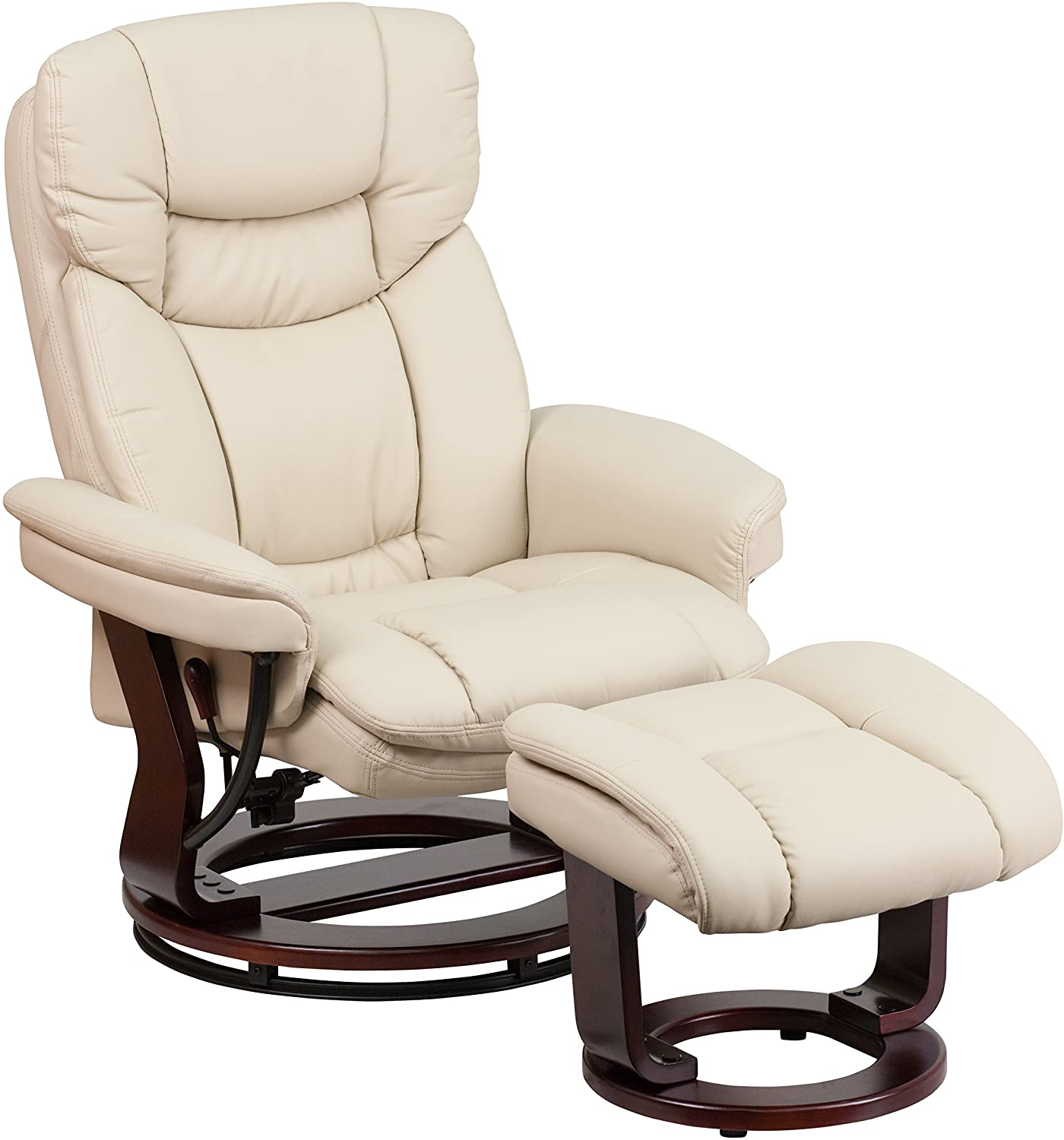 Flash Furniture Beige Small Recliner with Ottoman